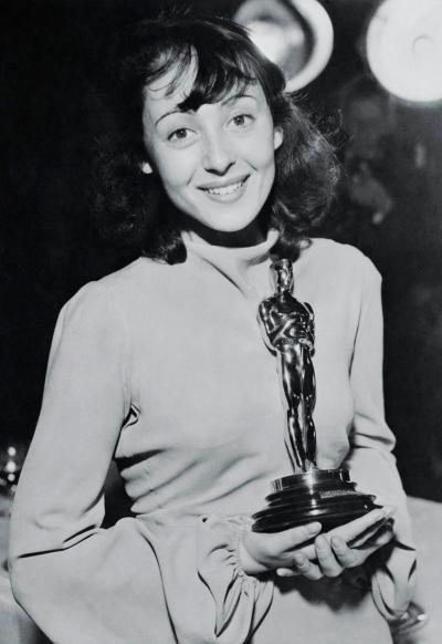 Luise Rainer Holding an Academy Award